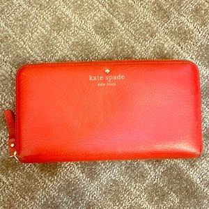 Kate Spade Red Leather Zip Wallet